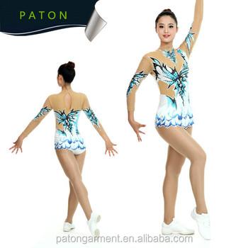 db371e47c523 Paton Custom High Quality Kids Girls Hot Drilling Leotards Rhythmic ...