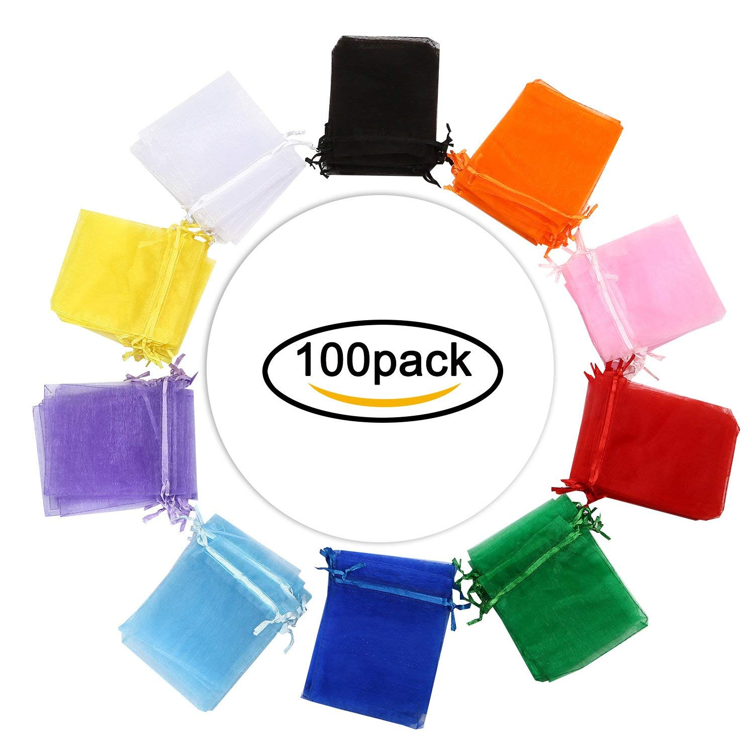 Hengu 100Pcs 4x5 inches Assorted Colors Sheer Drawstring Organza Candy Jewelry Pouches Wedding Party Christmas Favor Gift Bags
