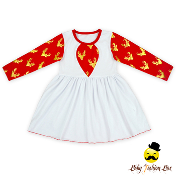 Fall & Winter Stylish Baby Girls Printed Deer-head Christmas Simple Frock Design For Baby Girl