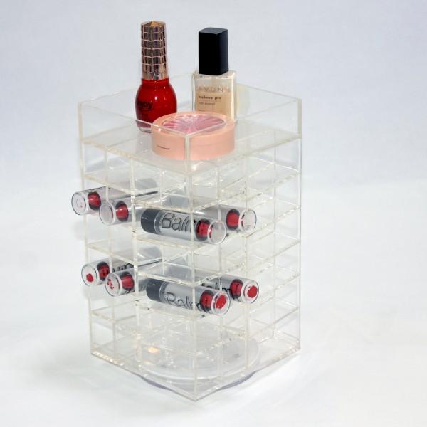 Groothandel custom oogschaduw make-up houder Compact Acryl Make-up Organizer Spinning heldere cosmetische organisator