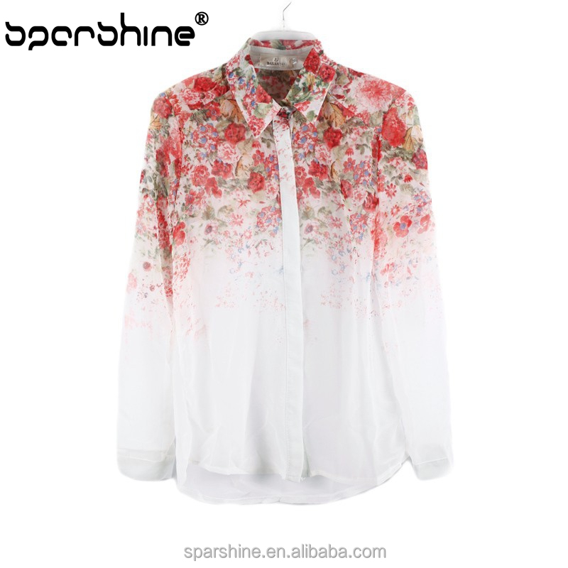 Vintage Plus Size Blusas 2015 Brand Summer Floral Print Chiffon Blouse Long Sleeve Body Shirt Women Casual Ladies Tops White