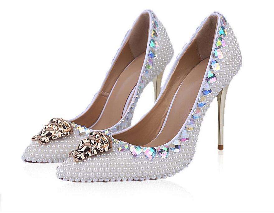 Get Quotations · Pearls Wedding Shoes 2015 New Luxury Metal Capita Genuine  Leather Rhinestone Women Pumps Pointed Toe Classics 7718fdee1784