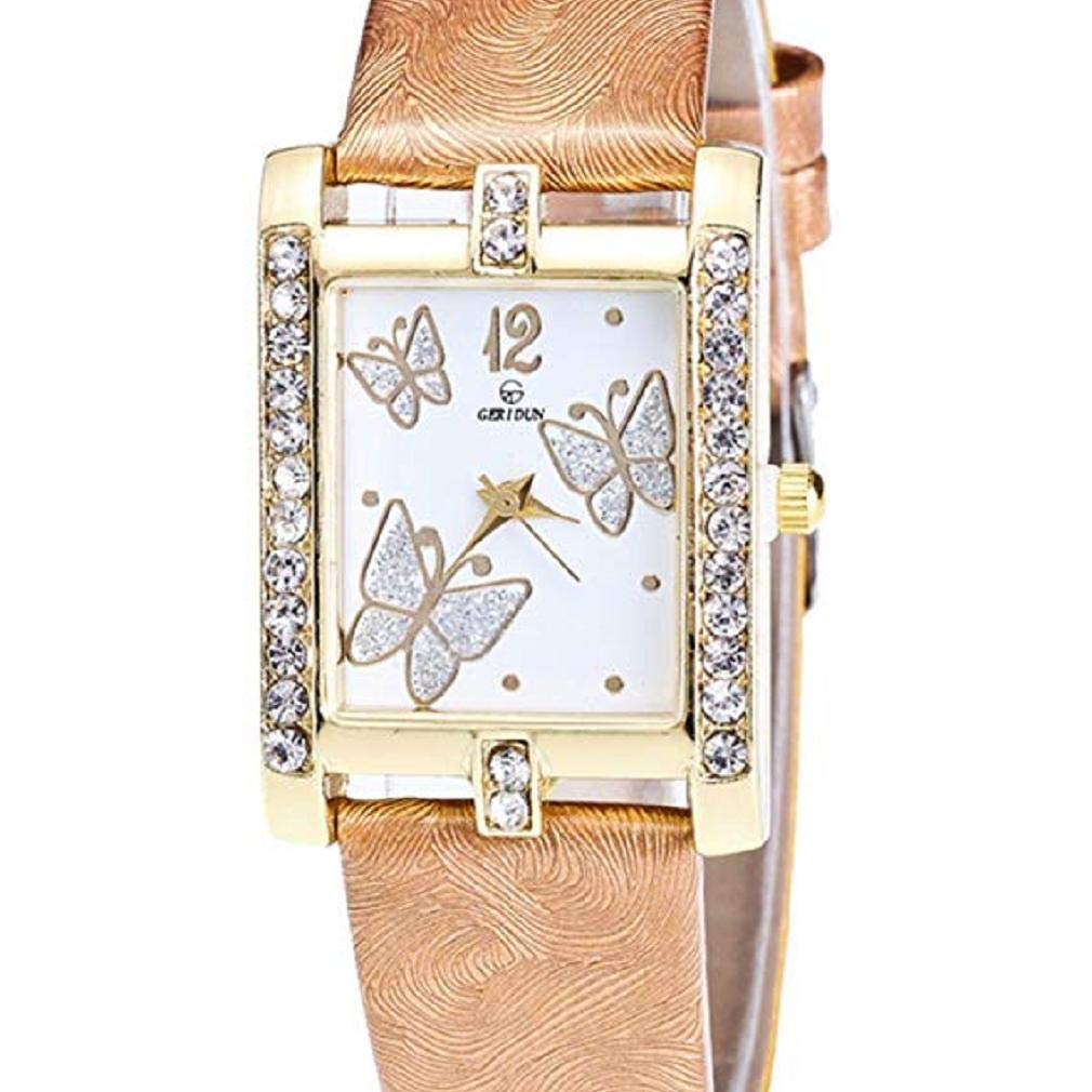 Butterfly Watches for Women, Windoson Crystal Analog Lady Watches Female Watches Wrist Watches for Women Rectangle Leather Watch (Gold)