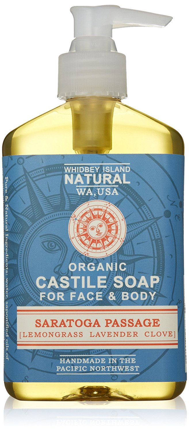 Organic Liquid Castile Soap   All Natural   Saratoga Passage (Lavender Lemongrass Clove)   Made by Whidbey Island Natural   Simple Natural Ingredients   Chemical Free!