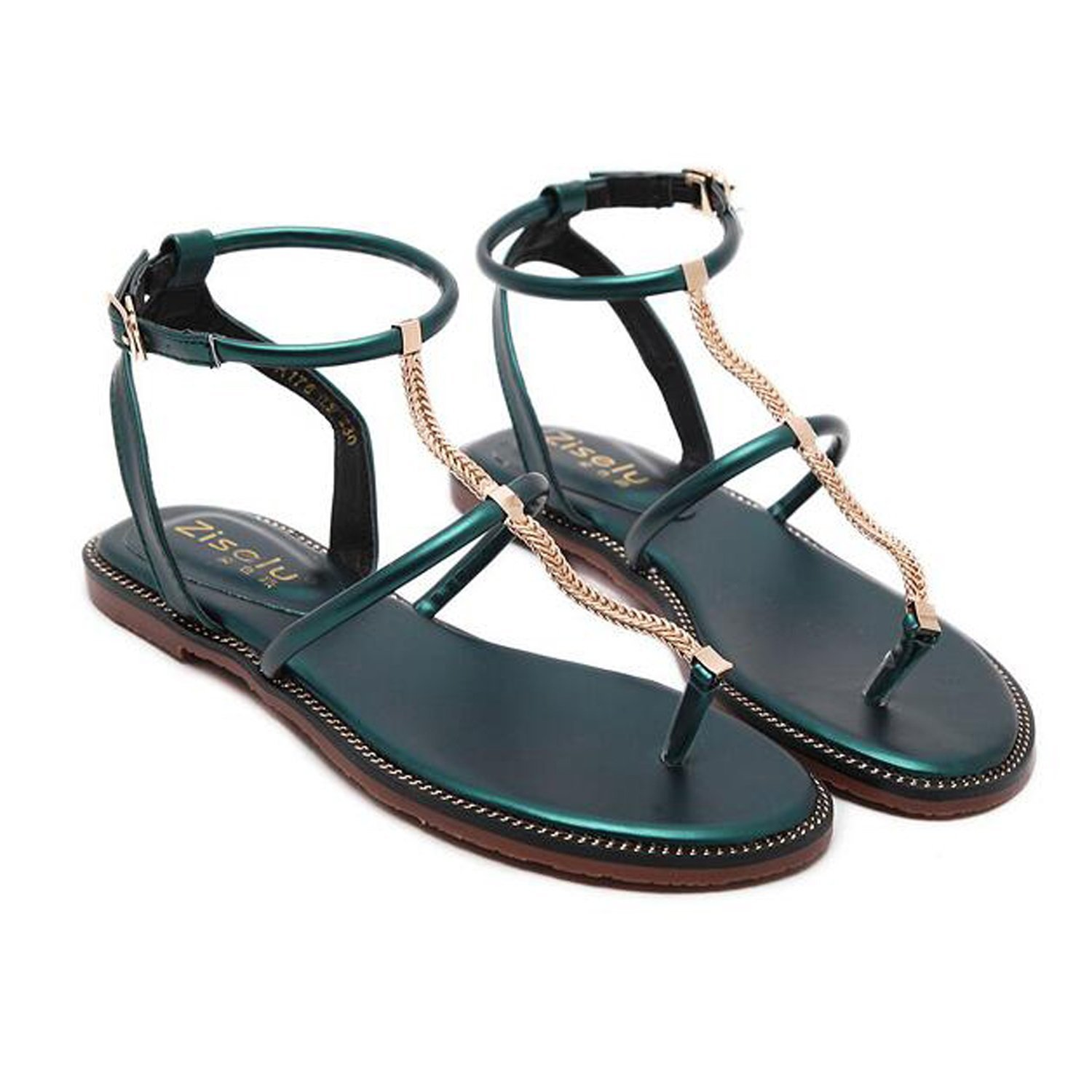 06b7082e1b2d Get Quotations · ZZZJR Women s Ankle Strap With T-Bar Sandals Flat Shoes  Casual Summer Shoes Round Peep