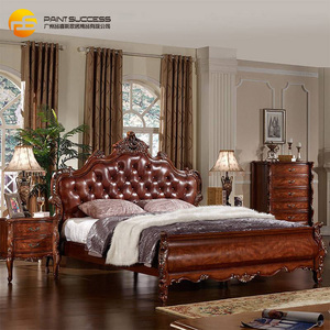 Custom 2018 popular headboards American Style wooden leather bed