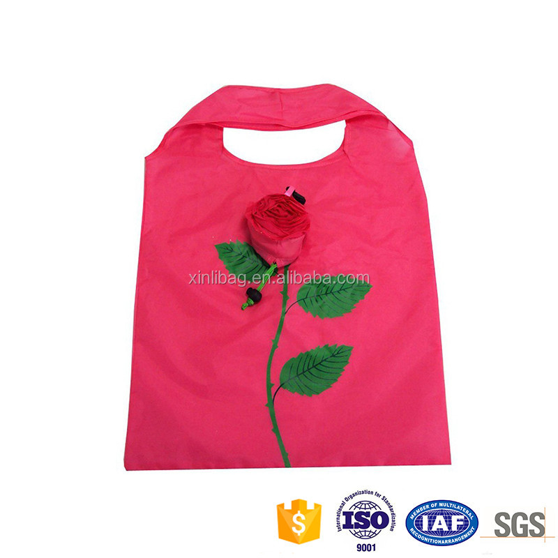 New creative customized logo rose practical folding shopping bag