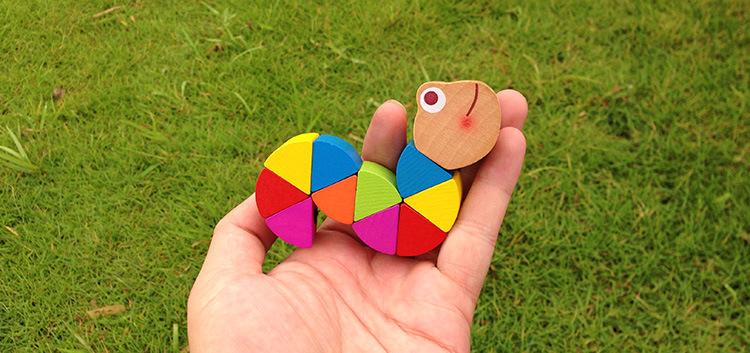 Mini ulat pendidikan kayu mainan untuk anak-anak