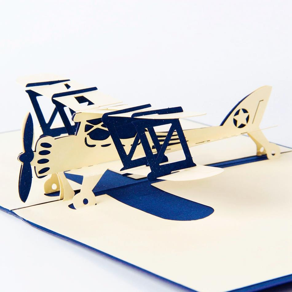 Wholesale Airplane Model 3D Laser Cut Pop Up Blank Holiday Happy