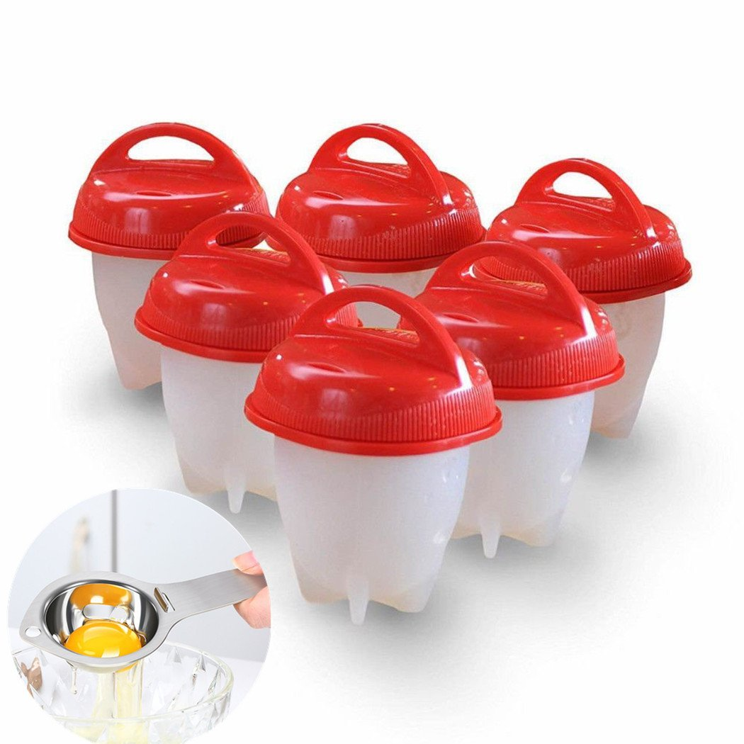 chiyan Egg Cooker Hard Boiled without the Shell.Non Stick Silicone.Bpa Free,6 Cups 6 1 Separator,AS Seen on TV, 8.x5.5x3.7, 0