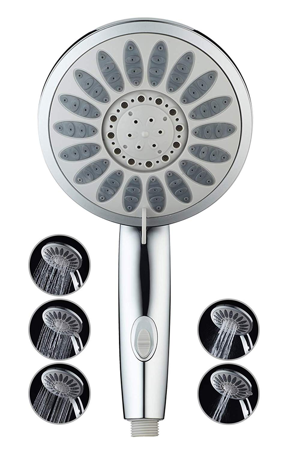 KAIREY Handheld Shower Head High Pressure 6-inch Face 5 Spray Settings Massage Spa Hand Showerhead Polished Chrome for the Ultimate Shower Experience