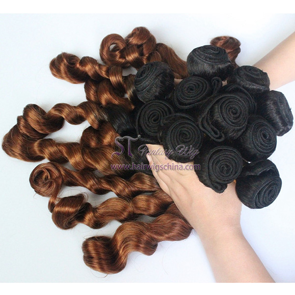 indian remy hair bulk ombre natural brown curly hair weaving wholesale