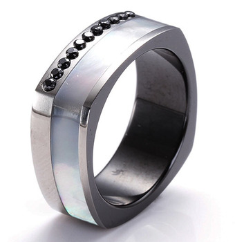 Men S Mother Of Pearl Mop And 11pcs Black Cz Stone Inlay Wedding Band In