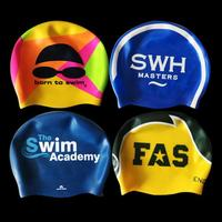 OEM custom logo printed suitable seamless hat silicone swim cap