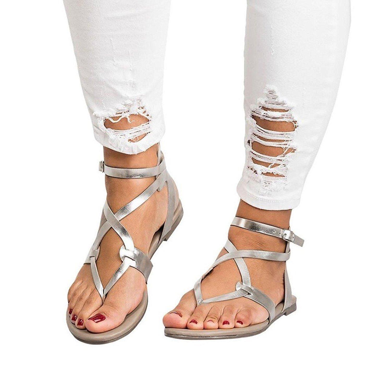 4b861a31d6e41b Get Quotations · Creazrise Women s Roman Criss Cross Strappy Flat Sandals  Ladies Ankle Buckle Sandals (Beige