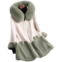 Wholesale Winter Fashion Women 100% Wool Fur Jacket Green Color Korean Fur Long Coat