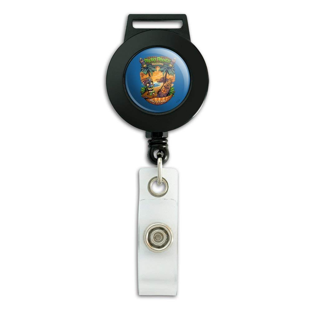 Freaky Friends Tiki Bar Tropical Vacation Lanyard Retractable Reel Badge ID Card Holder