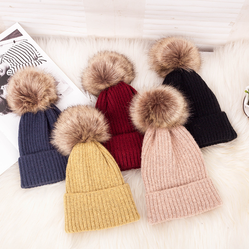 ball cap pom poms winter <strong>hat</strong> for women girl 's <strong>hat</strong> knitted beanies cap brand <strong>new</strong> thick female cap