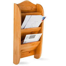3 Slot Wall Mount Bamboo Wood Mail Organizer