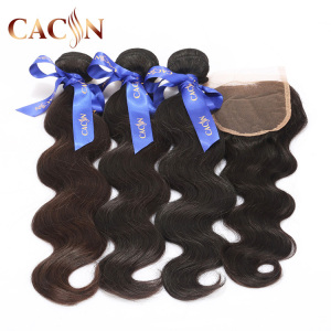 Virgin Hair Unprocessed Top Quality Brazilian 3 Bundle 10A Grade Body Wave Virgin Human Hair With Lace Closure