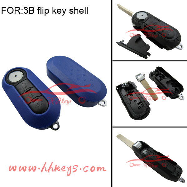 Blue color plastic key covers with SIP22 folding blade for fiat 500 key cover fiat flip key
