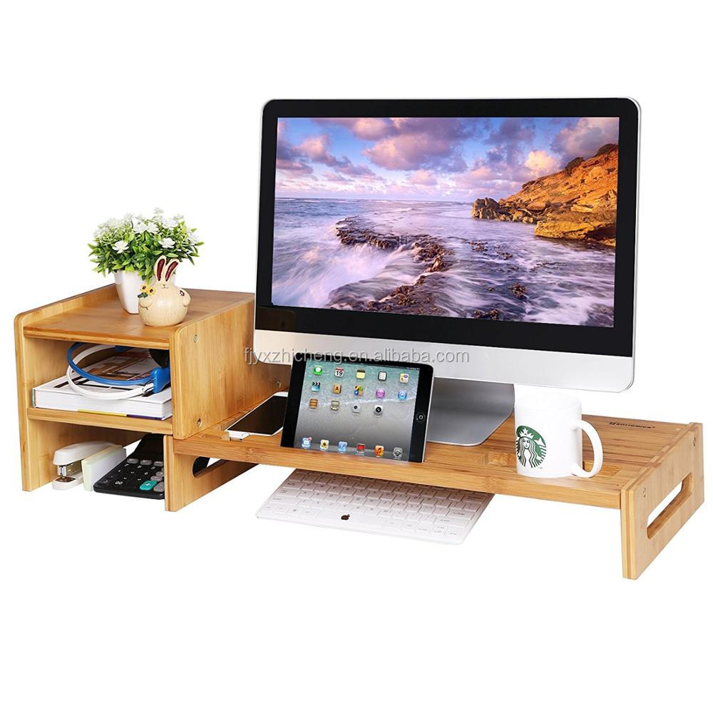 New Design Bamboo Monitor Stand With Drawer Desktop Storage