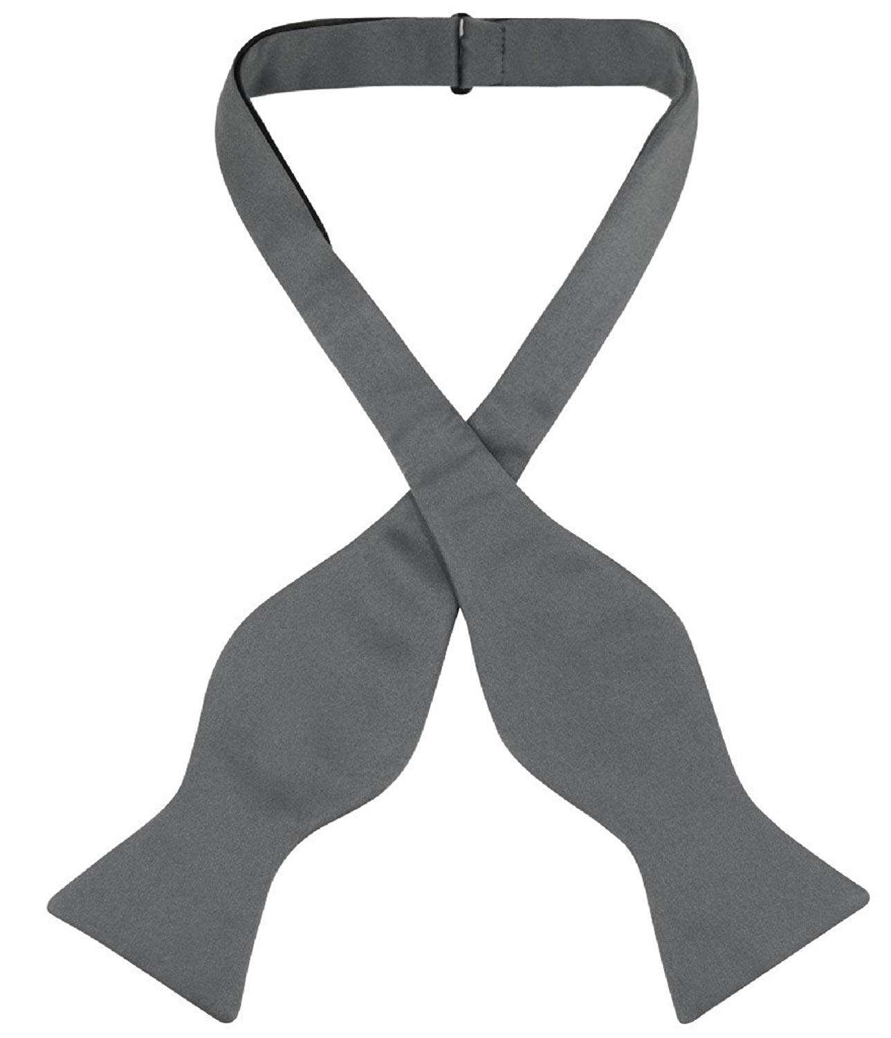 Vesuvio Napoli SELF TIE Bow Tie Solid CHARCOAL GREY Color Men's BowTie