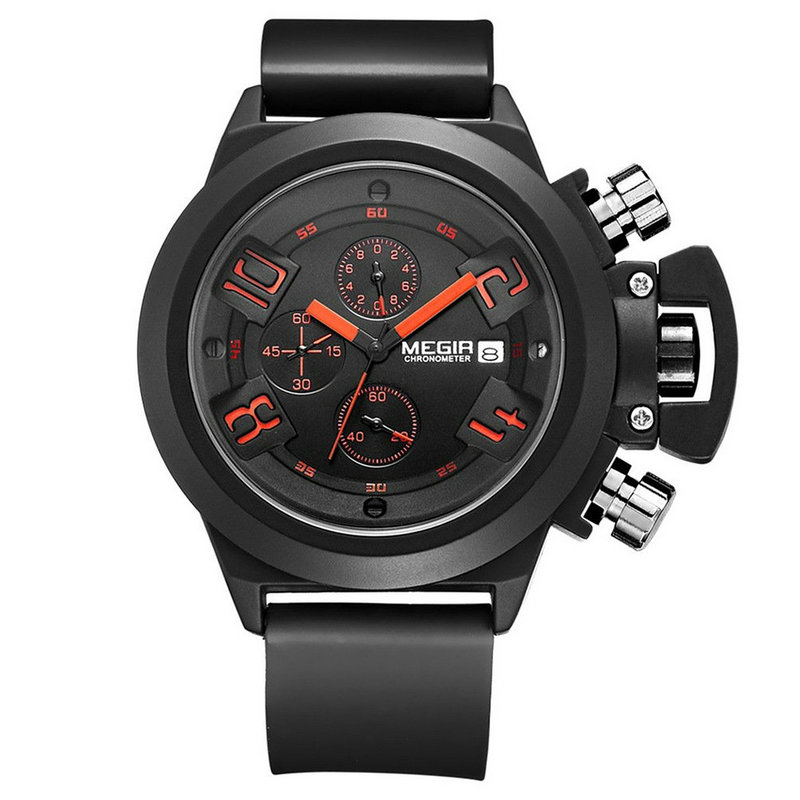 Megir 2002 Luxury Brand Watch Men Quartz Clock Mens Wrist Watch Reloj Hombre Silicone Watchband Military Sport Watch for Man