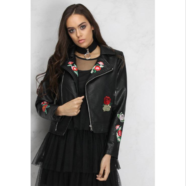 Sales promotion official sale uk K2997a 2017 Latest Fashion Pu Leather Jackets For Ladies Fancy Rose  Embroidery Bike Pu Leather Jackets For Women - Buy Leather Jackets,Ladies  Leather ...