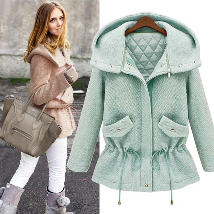 2014 осень зима шерстяное пальто женщин шинель темперамент тонкий шерсть и смеси бесплатная доставка S-XL