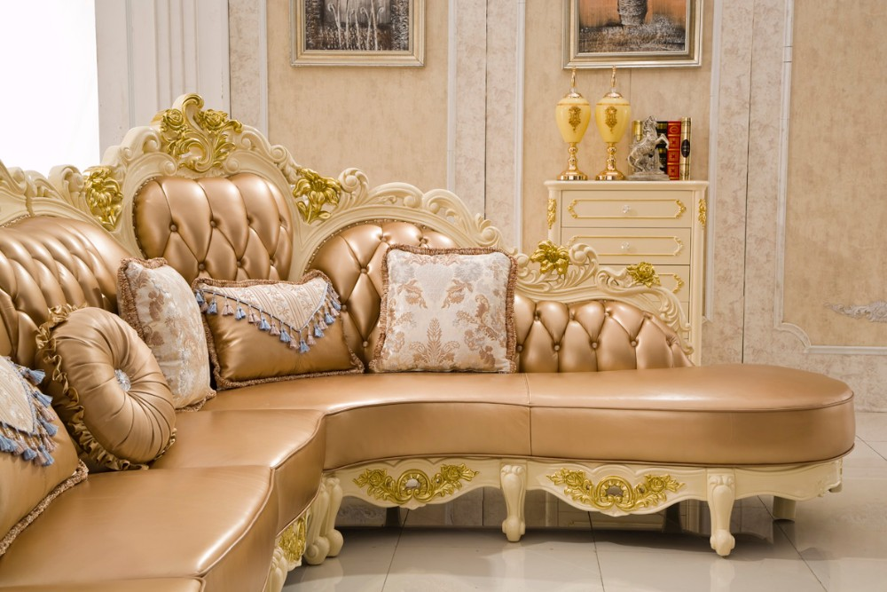 As41 French Style Sofa Bed Luxury Set Country Leather
