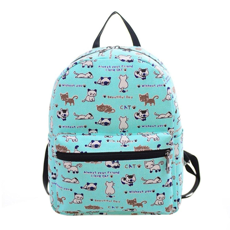 Sagton® Women Canvas Cat Printing School Backpack Rucksack Shoulder Bag