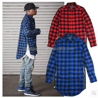 CP-6 High quality Red Blue Plaid zipper long sleeved shirts for men and women
