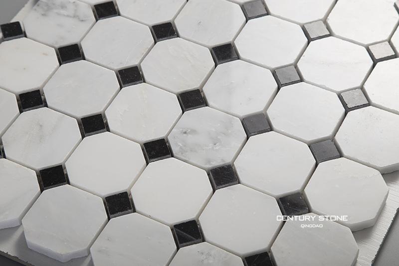 Mosaikfliesen boden  Italienischen Carrara Marmor Achteck Schwarz Und Weiß Boden ...