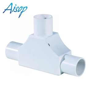 Factory pvc pipe accessories angle bend with cover tee elbow with cover electrical conduit tee with cover tee fitting