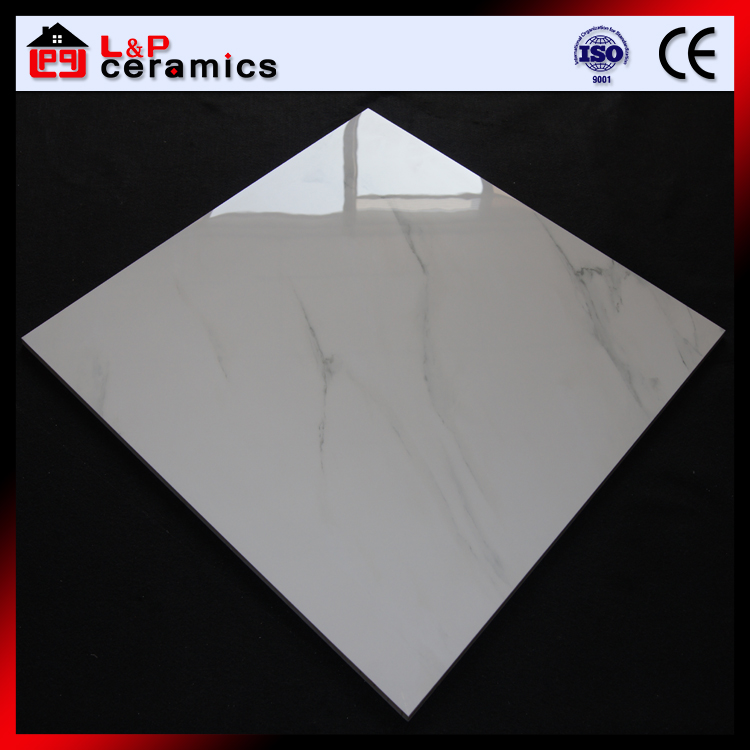Carrara blanc carreaux de porcelaine 24x24 poli tuiles verniss es imitation - Carrelage imitation marbre ...