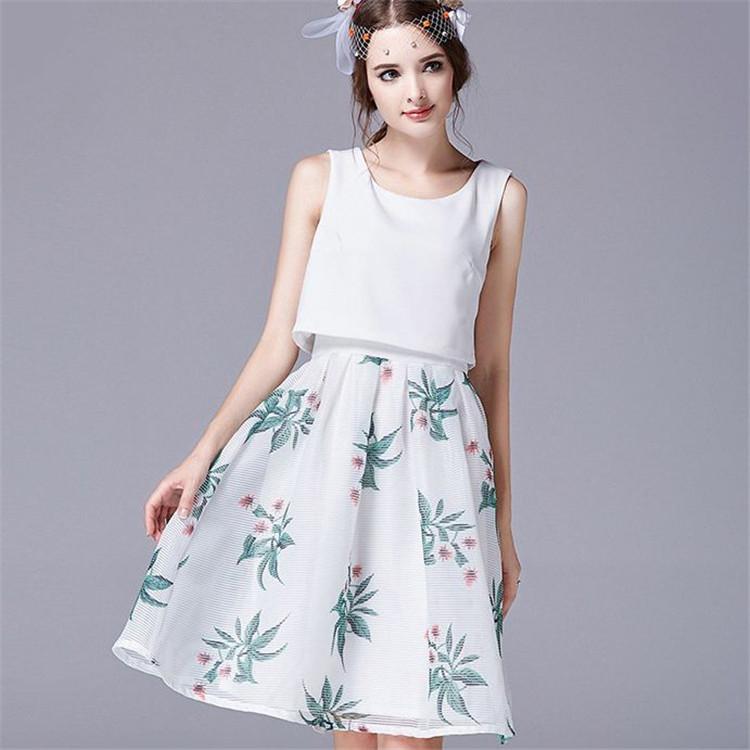 summer style summer dress 2015 sexy sleeveless Fake two