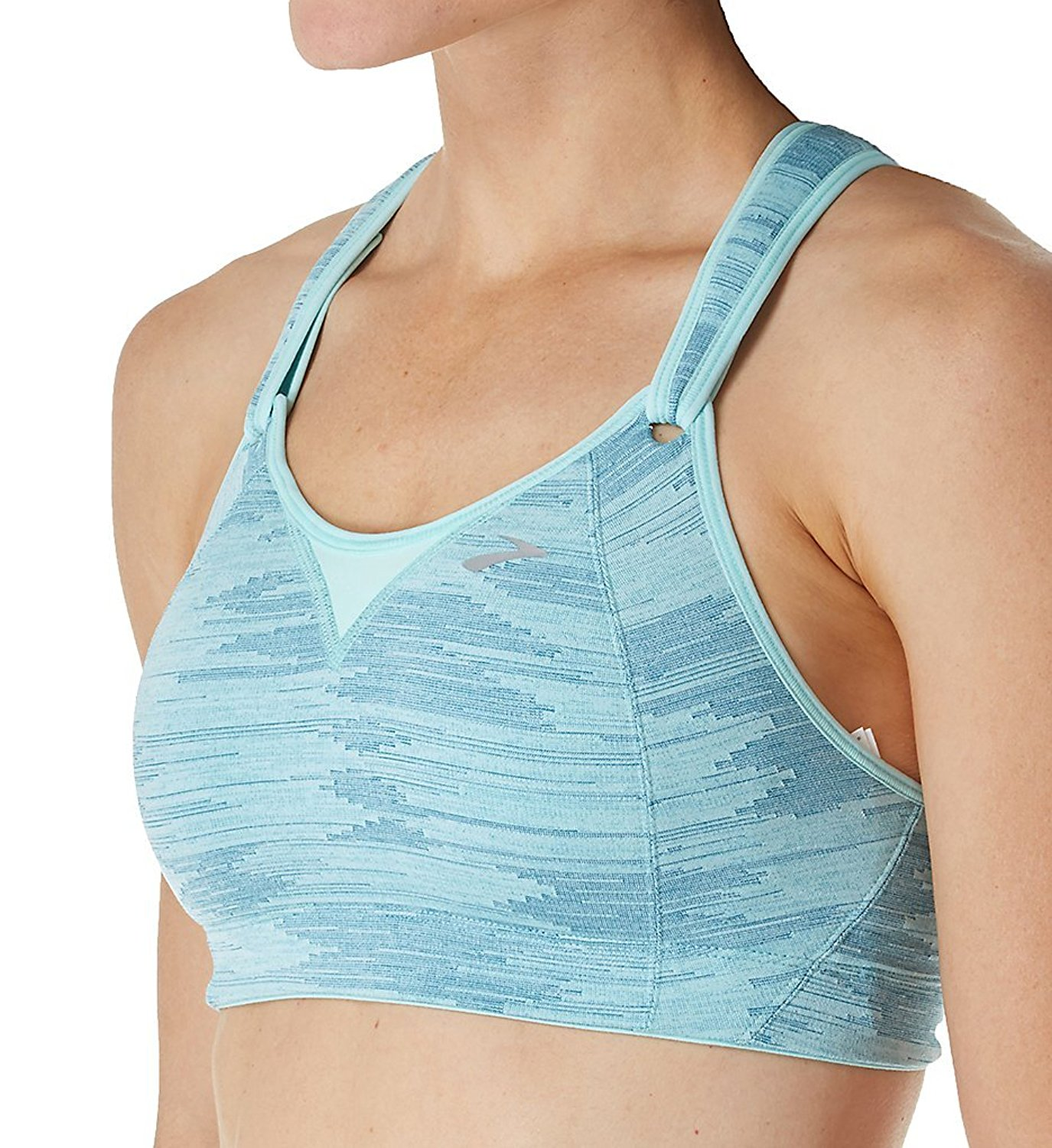 21495a16ce2b6 Get Quotations · Brooks Moving Comfort Rebound Racer High Impact Sports Bra  (350037) 30C Pool Ikat