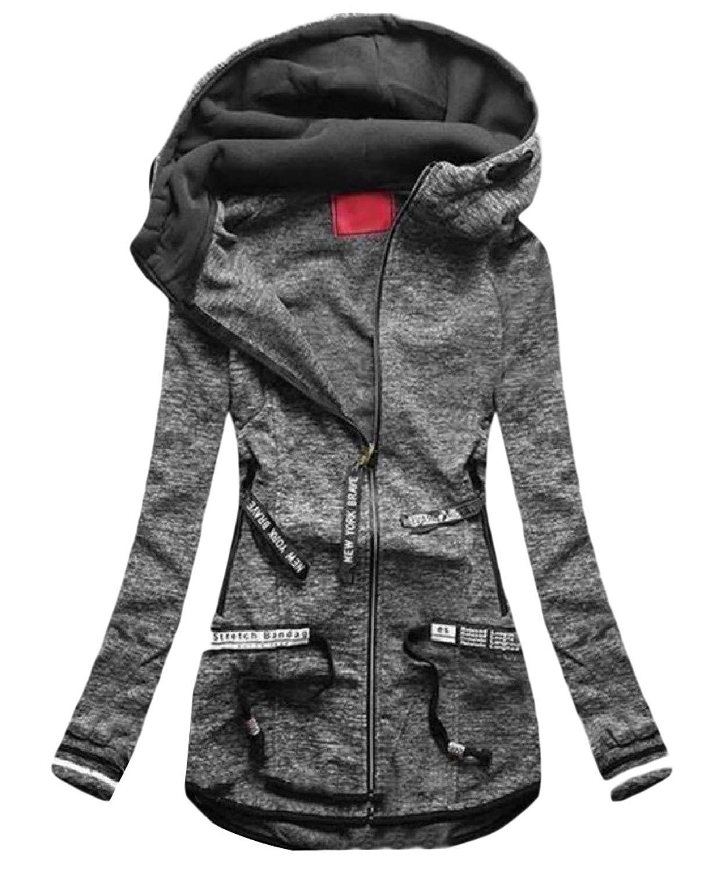 Zimaes-Women Zip-Up Long Sleeve Slim Fit Outwear Pocket Trim Sweatshirts