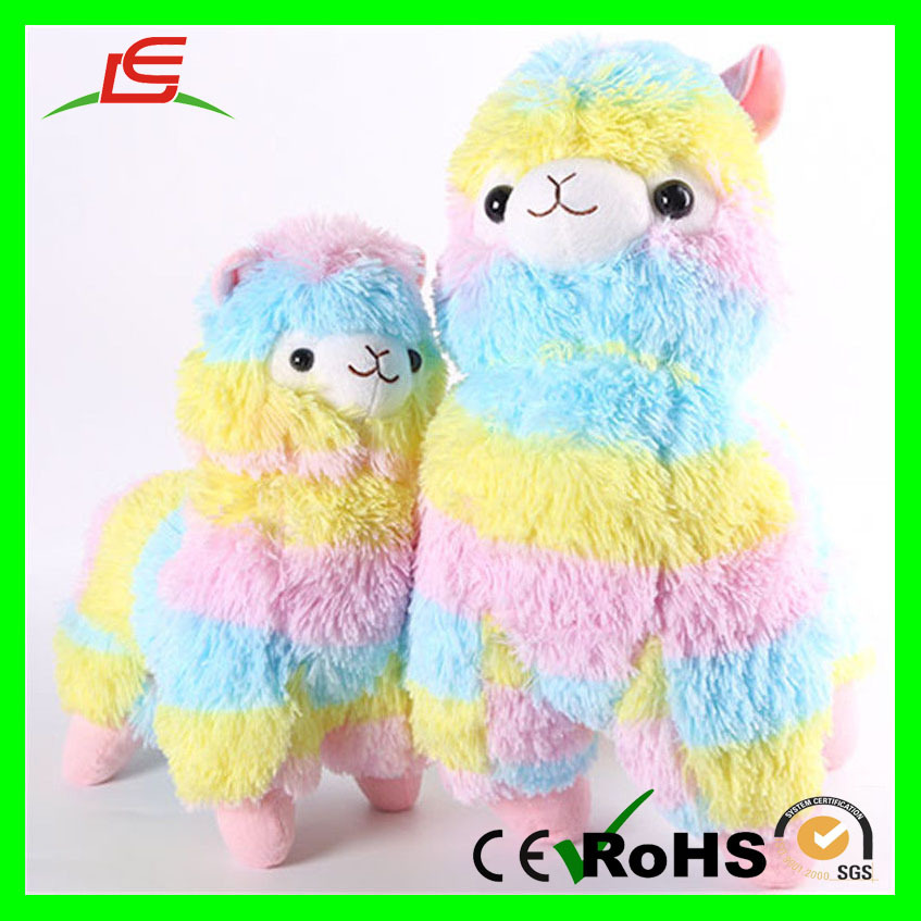 Rainbow Colorful Stuffed PV Fleece Animal Alpaca Plush