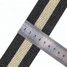 BSCI fabriek 1 inch gouddraad strip elastische polyester <span class=keywords><strong>webbing</strong></span>
