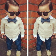 ST102 Free shipping 2014 boy clothes set with a bow tie twinset long sleeve denim set top + jeans children clothjing set kid set