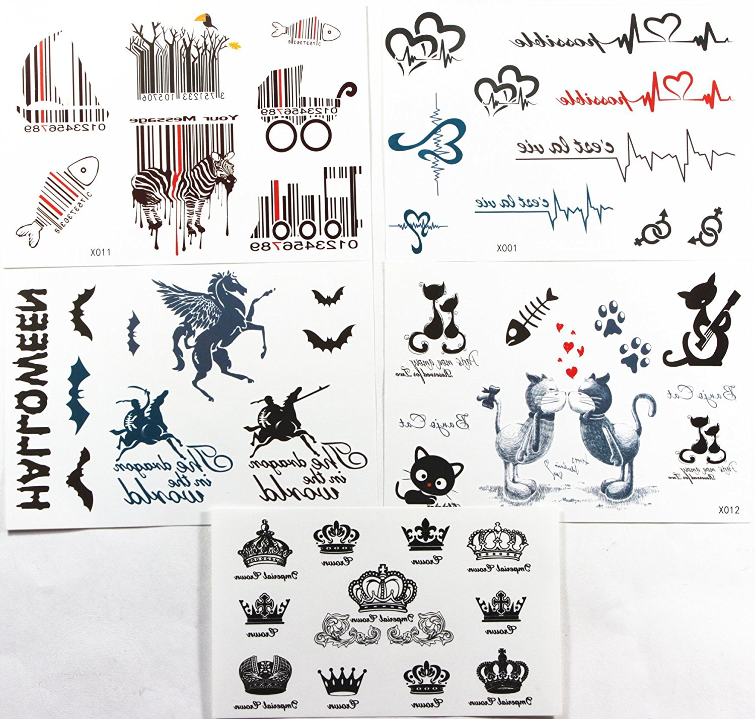 d0e515989 Long last realistic temporary tattoo stickers combination 5pcs/package  different designs, it includes crowns