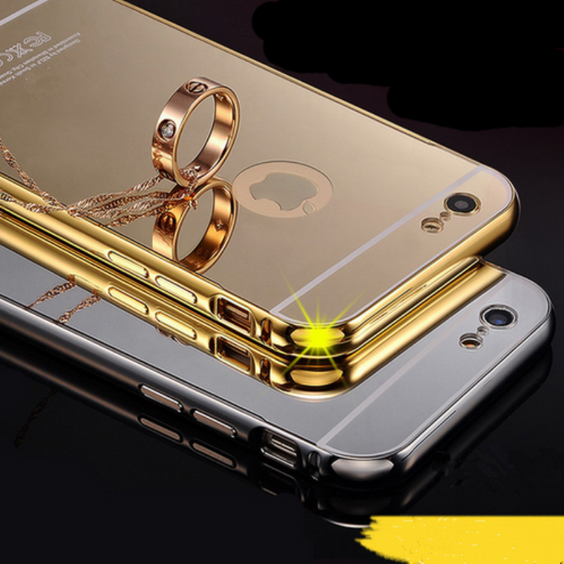 For Apple iPhone 6 Ultra Thin Metal Case, Aluminum Gold Plated Bumper Mirror Case for iPhone 6 Slim Cases Cover