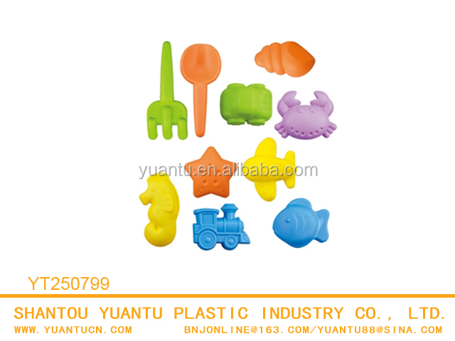 Summer beach play toy plastic dinosaur sand mold With Shovels