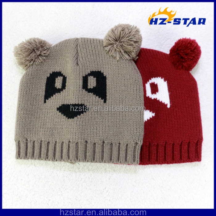 ce9632d6 HZM-13982 2015 hot sale animal bear two small pompom newborn baby boy  winter hats,superman crochet hat,baby funky knitted hat