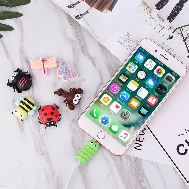 Cartoon animal cable protector for Apple data line cute insect silicone charging cable protector wholesale custom