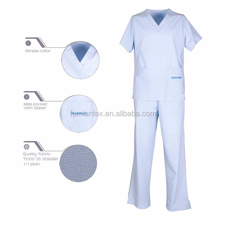 White Waterproof New Fashion Wholesale Customized Nursing Scrubs And Uniforms