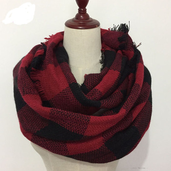 Wholesale winter warm acrylic plaid infinity scarf