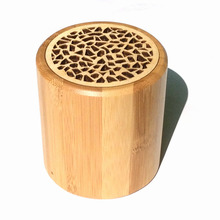 Hot sale Bamboo Cylinder Mini Portable Wireless Bluetooth Music Speaker 2017 with Microphone high quality music for smart phones